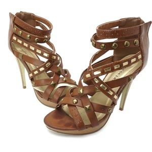 Chinese laundry tan strappy heel sandals